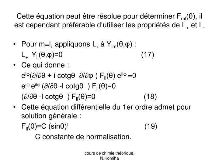 Cette équation peut être résolue pour déterminer