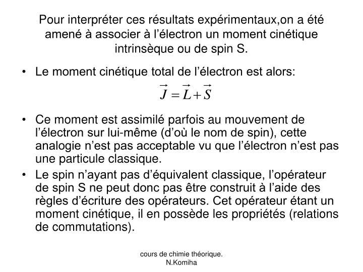 Pour interpréter ces résultats expérimentaux,on a été amené à associer à l'électron un moment cinétique intrinsèque ou de spin S.