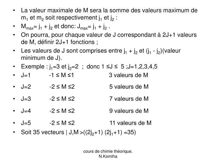 La valeur maximale de M sera la somme des valeurs maximum de m