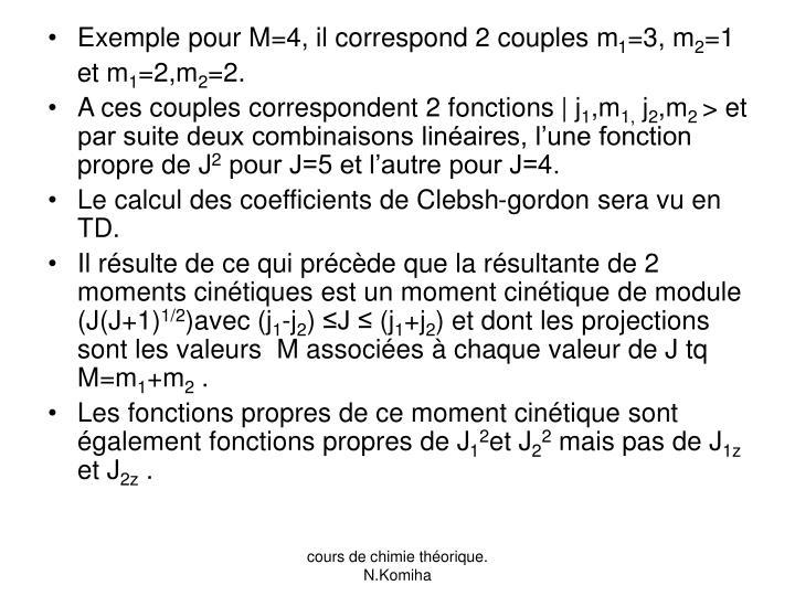 Exemple pour M=4, il correspond 2 couples m