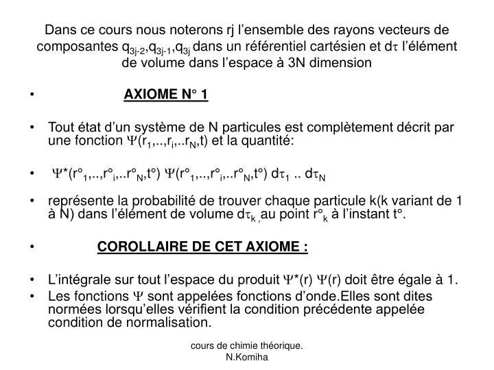 Dans ce cours nous noterons rj l'ensemble des rayons vecteurs de composantes q