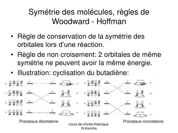 Symétrie des molécules, règles de Woodward - Hoffman