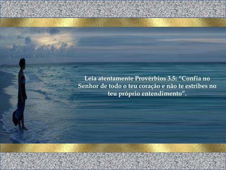 """Leia atentamente Provérbios 3.5: """"Confia no Senhor de todo o teu coração e não te estribes no teu próprio entendimento""""."""