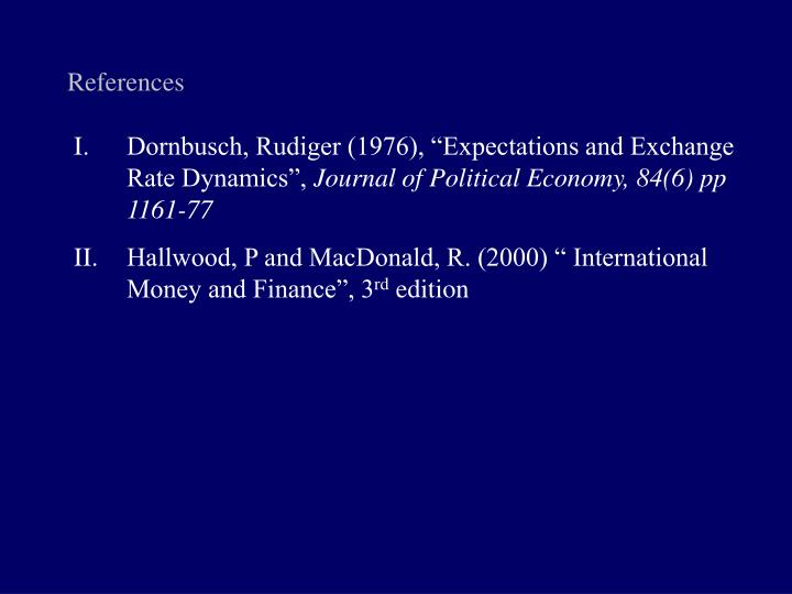 "Dornbusch, Rudiger (1976), ""Expectations and Exchange Rate Dynamics"","
