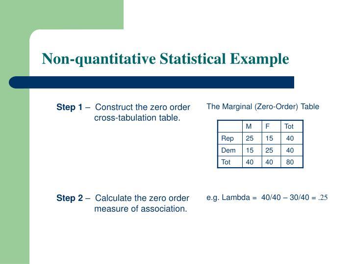 Non-quantitative Statistical Example