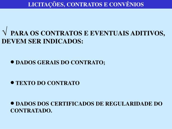 LICITAÇÕES, CONTRATOS E CONVÊNIOS