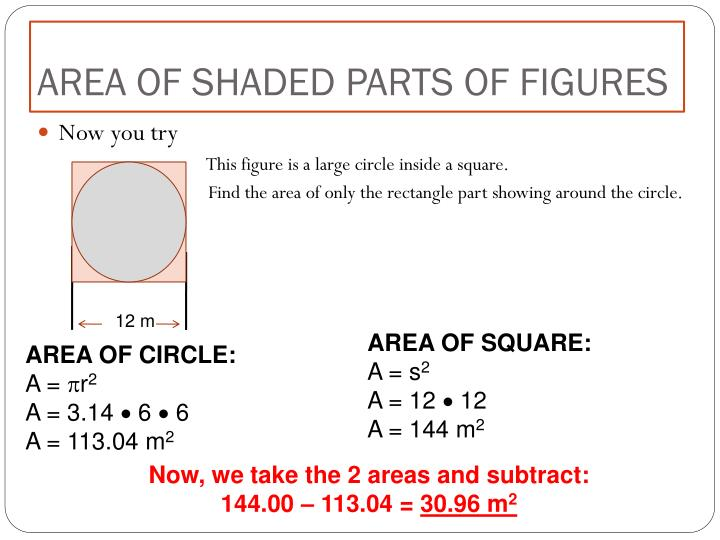 AREA OF SHADED PARTS OF FIGURES