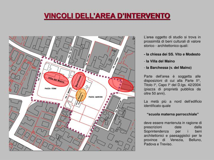 VINCOLI DELL'AREA D'INTERVENTO
