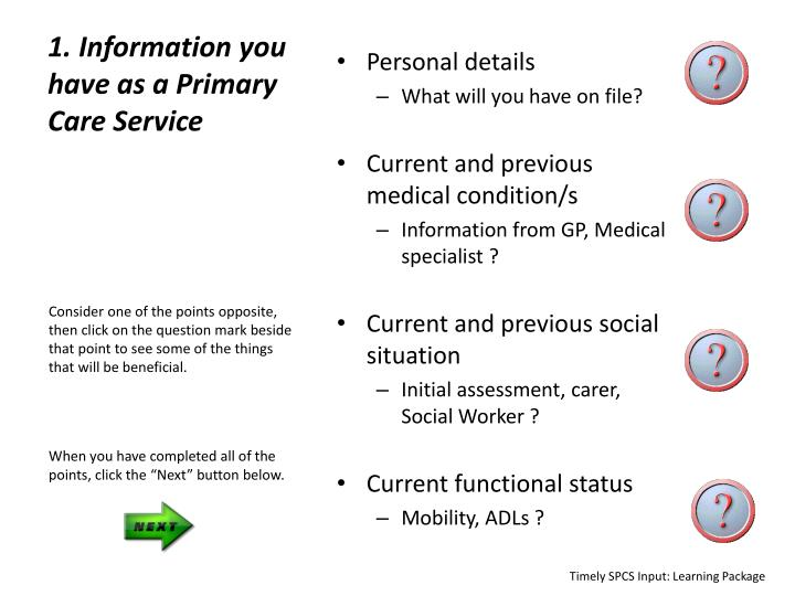 1. Information you have as a Primary Care Service