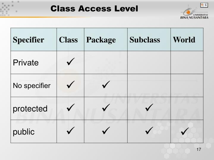 Class Access Level