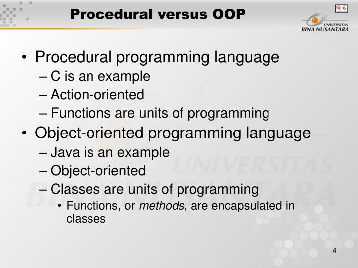 Procedural versus OOP