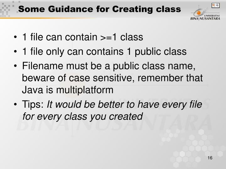 Some Guidance for Creating class