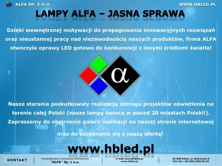 Lampy alfa  jasna sprawa