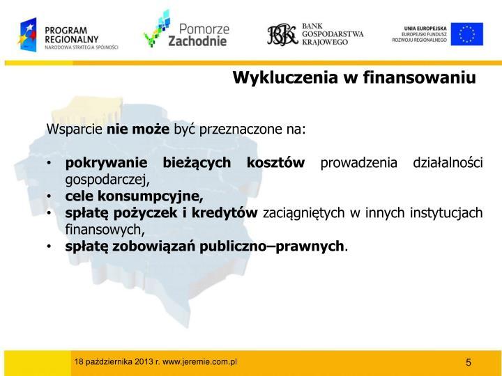 Wykluczenia w finansowaniu