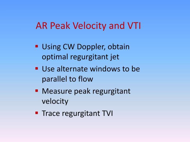 AR Peak Velocity and VTI
