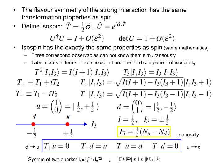 The flavour symmetry of the strong interaction has the same transformation properties as spin.