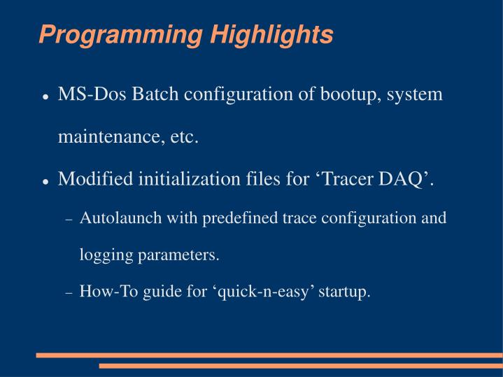 Programming Highlights