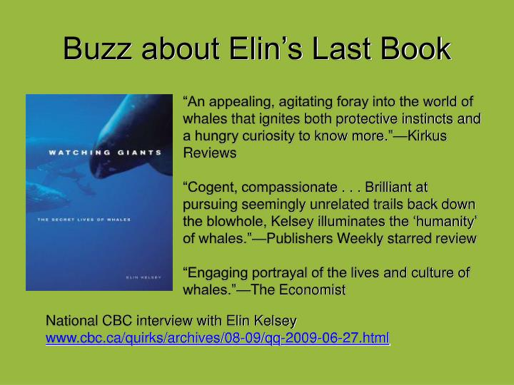 Buzz about Elin's Last Book