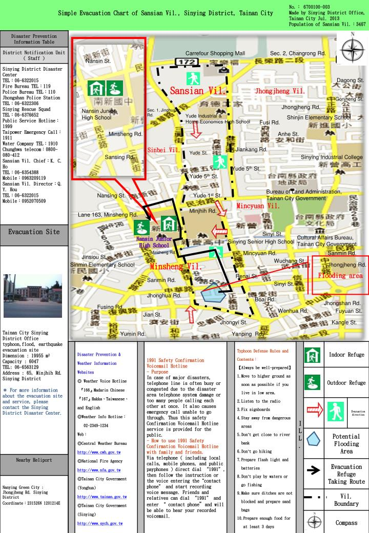 Simple Evacuation Chart of Sansian Vil., Sinying District, Tainan City