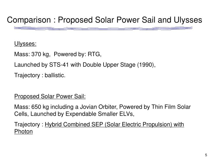 Comparison : Proposed Solar Power Sail and Ulysses