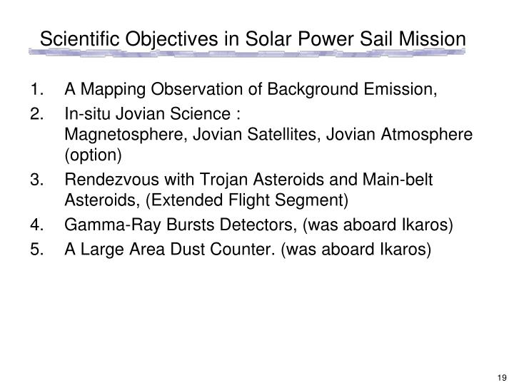 Scientific Objectives in Solar Power Sail Mission