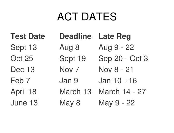 ACT DATES