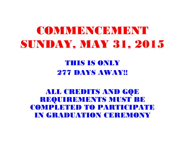 Commencement sunday may 31 2015