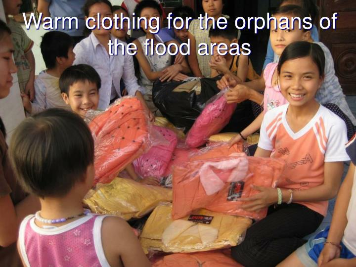 Warm clothing for the orphans of the flood areas