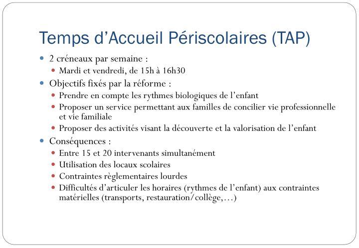 Temps d'Accueil Périscolaires (TAP)