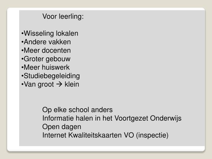 Voor leerling:
