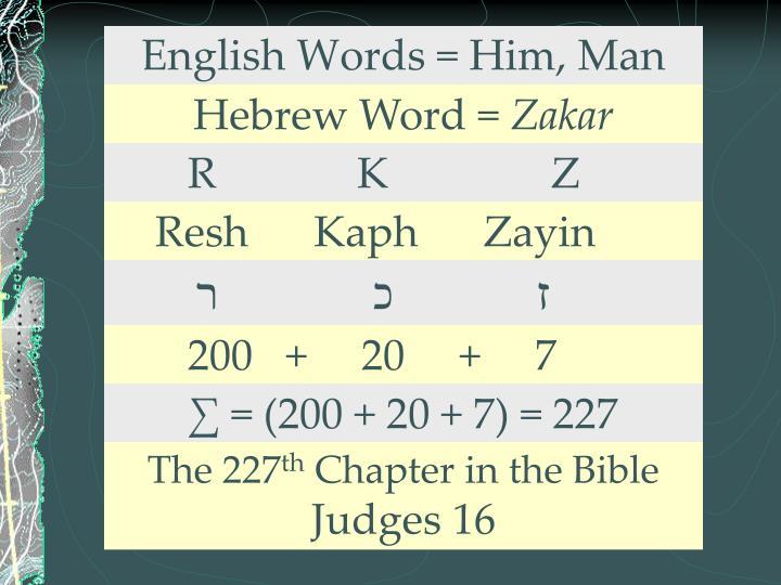 English Words = Him, Man