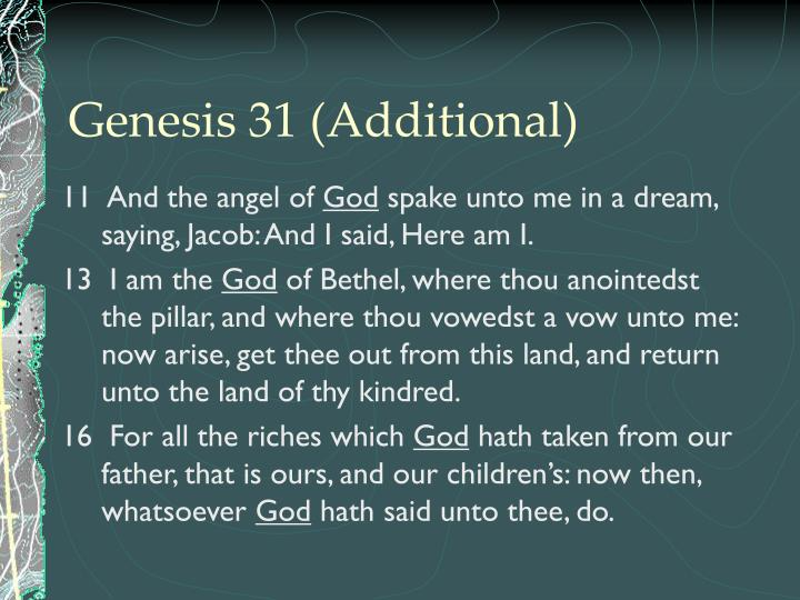 Genesis 31 (Additional)