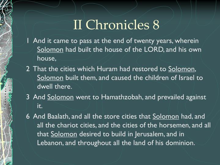 II Chronicles 8