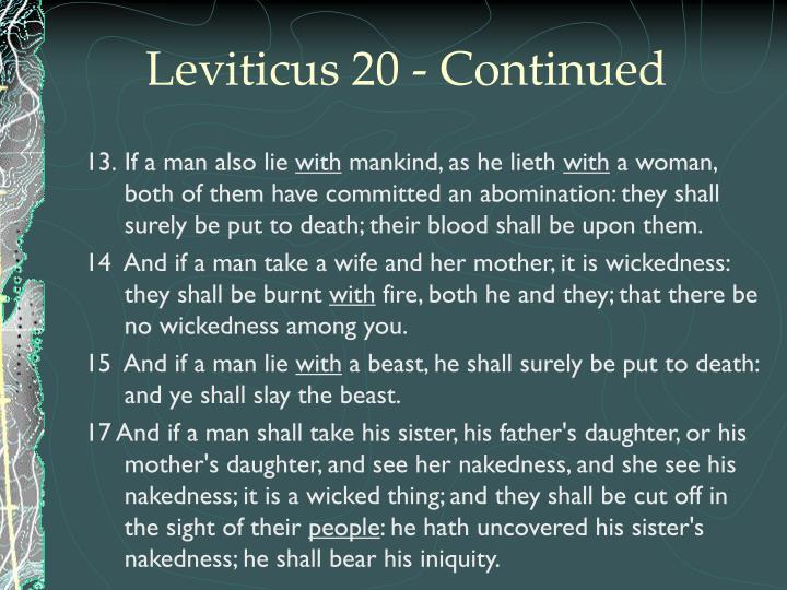 Leviticus 20 - Continued
