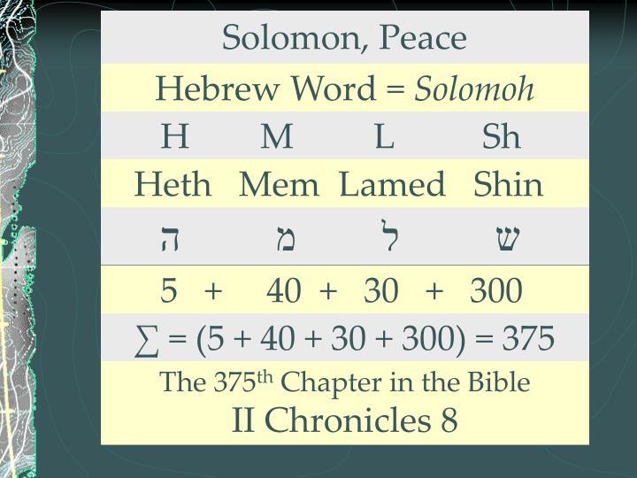 Solomon, Peace