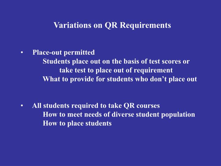 Variations on QR Requirements