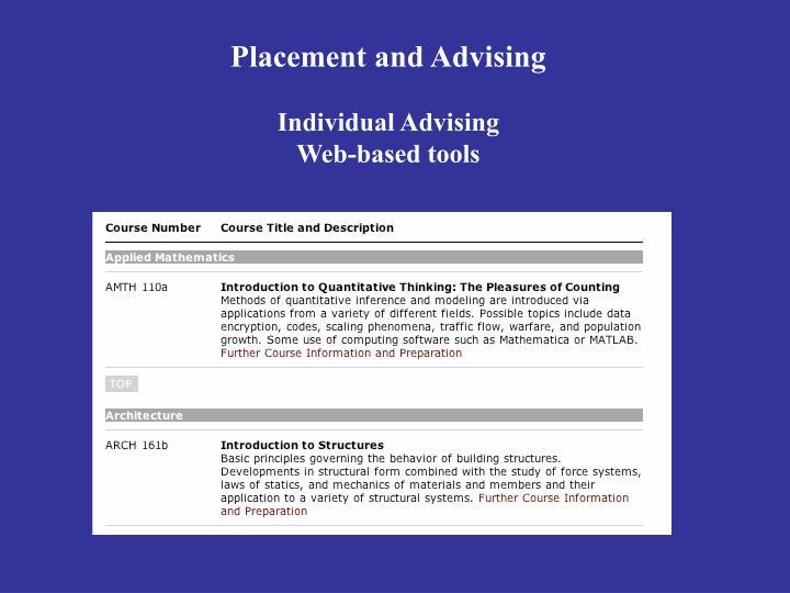 Placement and Advising