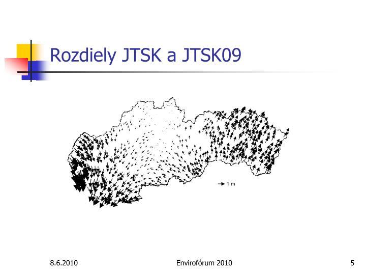 Rozdiely JTSK a JTSK09