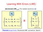 learning with errors lwe1