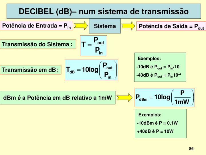 DECIBEL (dB)– num sistema de transmissão