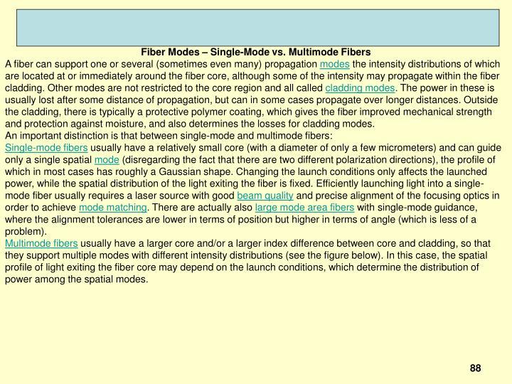 Fiber Modes – Single-Mode vs. Multimode Fibers