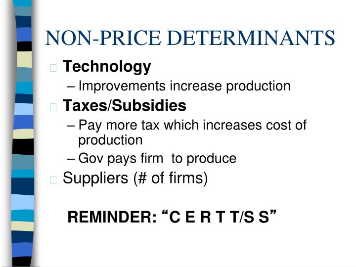 NON-PRICE DETERMINANTS