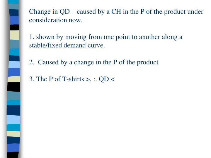 Change in QD – caused by a CH in the P of the product under consideration now.
