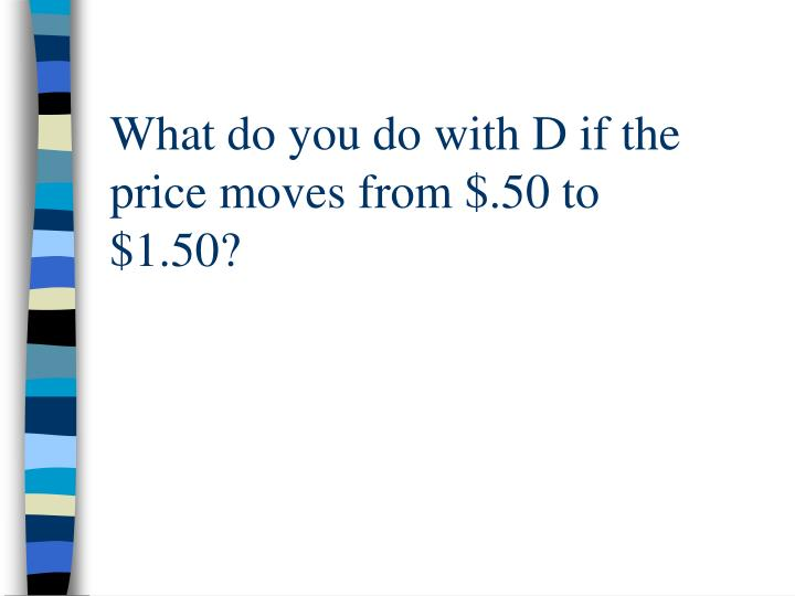 What do you do with D if the price moves from $.50 to $1.50?
