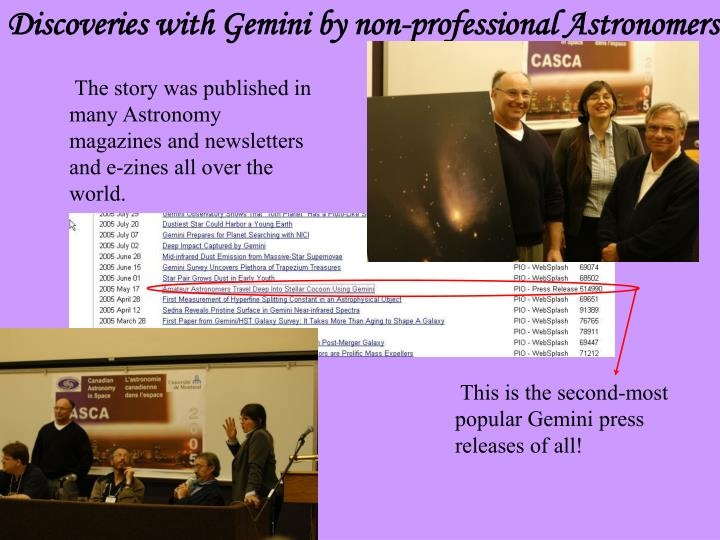 Discoveries with Gemini by non-professional Astronomers