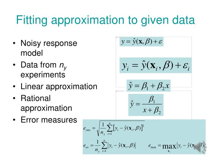 Fitting approximation to given data