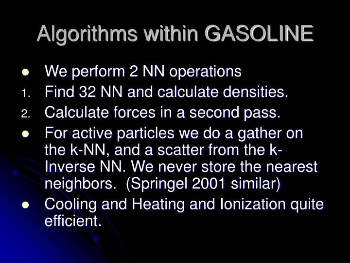 Algorithms within GASOLINE
