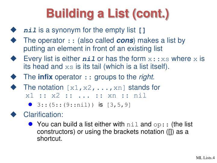 Building a List (cont.)