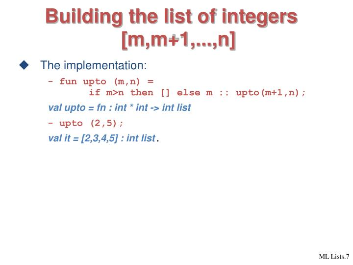 Building the list of integers