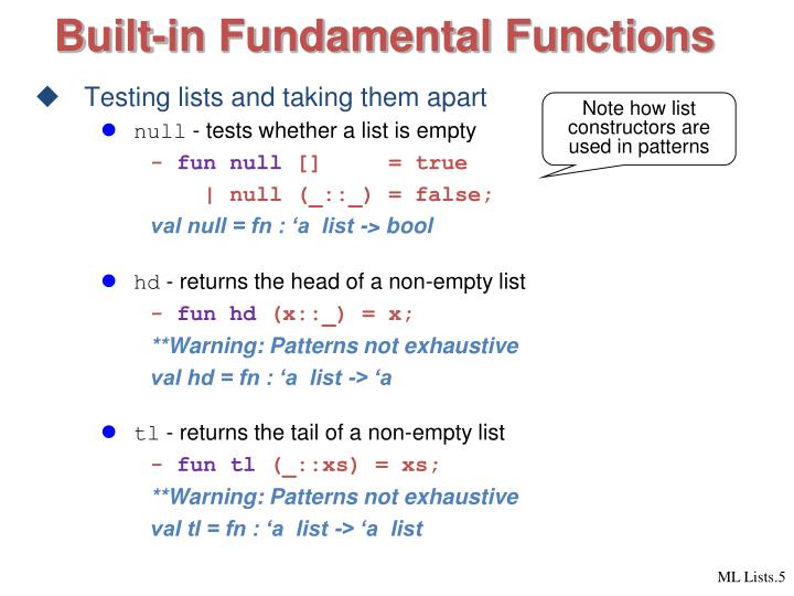 Built-in Fundamental Functions